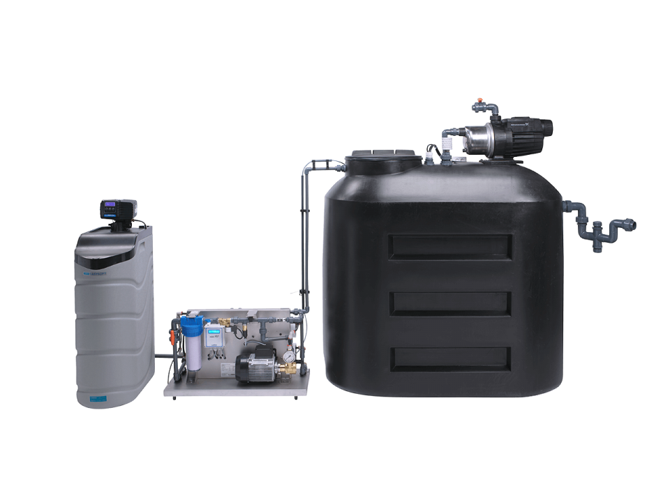 A custom-made water treatment system with a water softener, a Lubron RO system and a buffer tank.