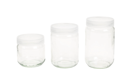 These glass jars can be used for plant tissue culture and have a twist off cap. They are available in 38, 55 and 75 cl.
