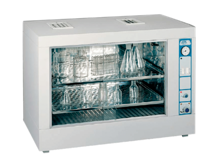 The JP Selecta glass drying oven 'Dryglass' has fan assisted air circulation and is used to dry and sterilize vessels.