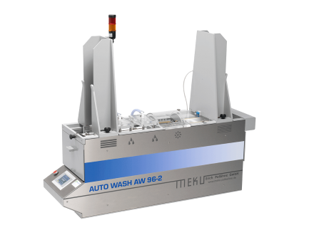 The MEKU auto-wash AW-96-2 is a complete automatic washing and drying machine, perfect for '96 micro-titration plates.