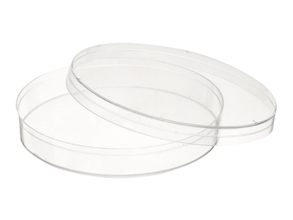 A petri dish made of plastic. These are available sterilized or non-sterilized and with an additional cap.