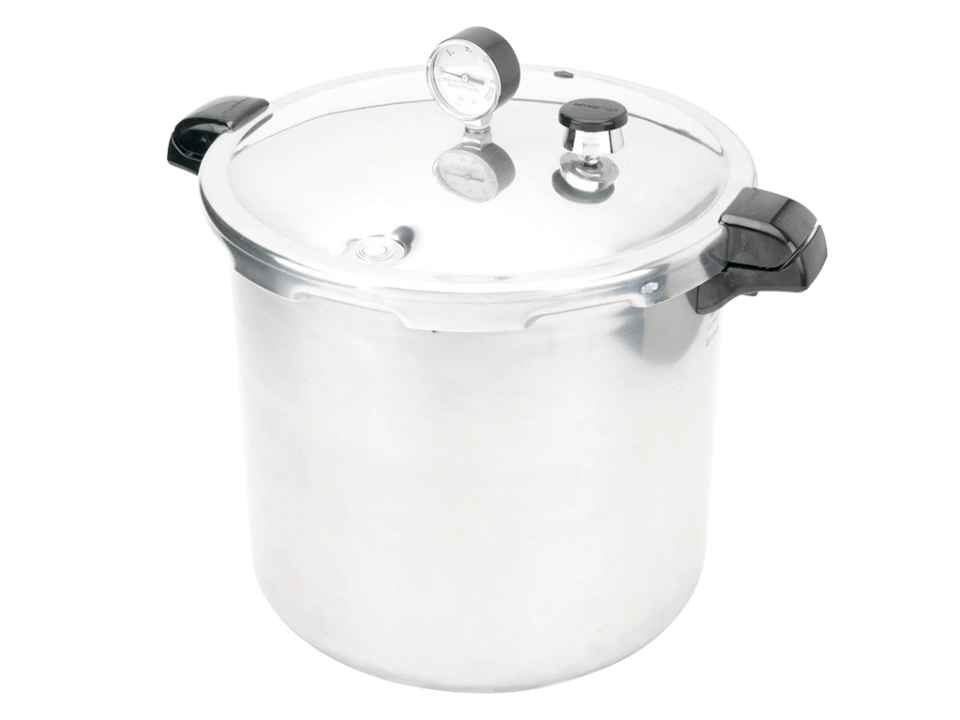 Presto's Pressure Canner and Cooker 23-Quart for quick and easy sterilization.