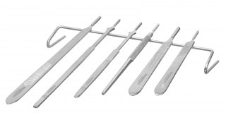 Scalpel blade holders and stainless steel rest
